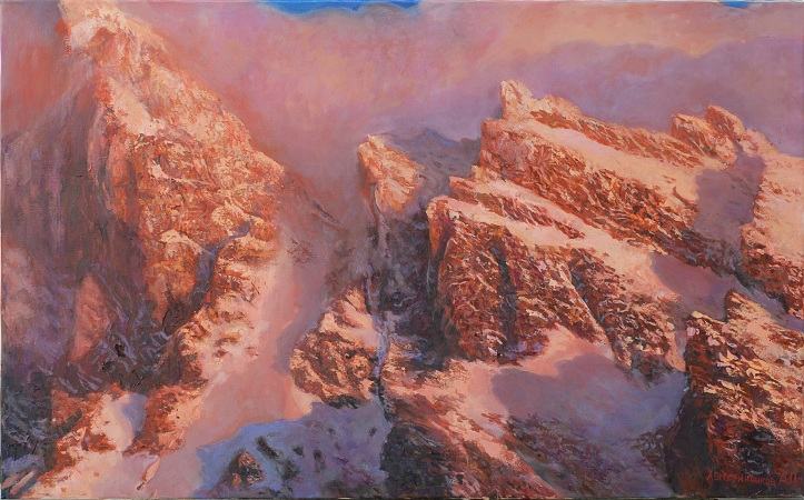 Горы на закате солнца []